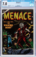 Golden Age (1938-1955):Horror, Menace #9 (Atlas, 1954) CGC FN/VF 7.0 Cream to off-white pages....