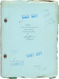 """Freaks (MGM, 1932). Vault Copy Scripts (2) (Approx. 44 & 53, 8.5"""" X 11.5""""). ... (Total: 2 Items)"""