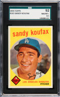 Baseball Cards:Singles (1950-1959), 1959 Topps Sandy Koufax #163 SGC 92 NM/MT+ 8.5 - Pop Two, None Higher. ...