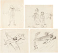 Animation Art:Production Drawing, Victory Through Air Power James Bodrero and Campbell GrantGag Drawings, Group of 4 (Walt Disney, 1943). ... (Total: 4Original Art)