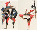 Animation Art:Concept Art, Walt Peregoy Chanticleer Concept Art Group of 2 (Walt Disney, 1960s). ... (Total: 2 Original Art)