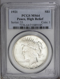 1921 $1 Peace MS64 PCGS. The bold luster on this Gem is unlike what most examples of this issue display. While it is jus...