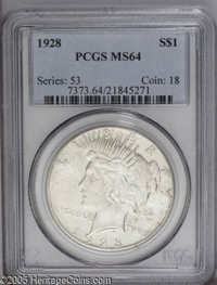 1928 $1 MS64 PCGS. A couple of inconsequential luster grazes are noted on this key date issue. From The Andy Geosits Co...