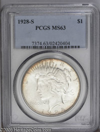 1928-S $1 MS63 PCGS. Wheaten peripheral toning is a pleasing diversion from the all-too-common white Peace Dollar. From...