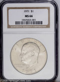Eisenhower Dollars: , 1971 $1 MS66 NGC. A hint of golden patina is noted on this issue for which no finer specimens have been reported....