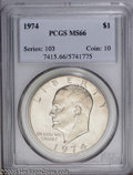 Eisenhower Dollars: , 1974 $1 MS66 PCGS. This blast white example has great luster with no major abrasions noted....