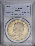 Eisenhower Dollars: , 1976 $1 Type One MS66 PCGS. A light-brown patina envelopes the surface of this Gem that has some frosting....