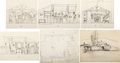 Animation Art:Concept Art, Pinocchio Layout Drawings Group of 7 (Walt Disney, 1940).... (Total: 7 Items)