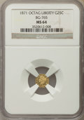 California Fractional Gold , 1871 25C Liberty Head Octagonal 25 Cents, BG-765, R.3, MS64 NGC.NGC Census: (7/2). PCGS Population: (27/3). ...