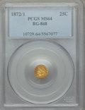 California Fractional Gold , 1872/1 25C Indian Round 25 Cents, BG-868, High R.4, MS64 PCGS. PCGSPopulation: (15/19). NGC Census: (2/0). ...