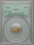 California Fractional Gold , 1854 50C Liberty Octagonal 50 Cents, BG-305, Low R.4, MS64 PCGS.PCGS Population: (8/1). NGC Census: (6/2). ...