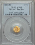 California Fractional Gold , 1880/70 50C Indian Round 50 Cents, BG-1067, Low R.4, MS64 PCGS.PCGS Population: (25/6). NGC Census: (1/0). ...