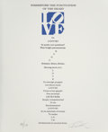 Prints:Contemporary, Robert Indiana (b. 1928). The Book of Love Poem - Wherefore thePunctuation of the Heart - II, 1996. Screenprint with le...