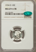 Mercury Dimes, 1934-D 10C MS67+ ★ Full Bands NGC. CAC....