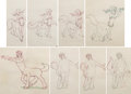 "Animation Art:Production Drawing, Fantasia ""Pastoral Symphony"" Melinda and Brudas AnimationDrawing Sequence of 8 (Walt Disney, 1940).... (Total: 8 )"