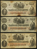 Confederate Notes:1862 Issues, T41 $100 1862. Three Examples.. ... (Total: 3 notes)