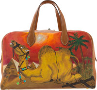 Hermes Customized 45cm Vache Naturelle Leather & Toile Canvas Victoria Travel Bag with Gold Hardware F Circle