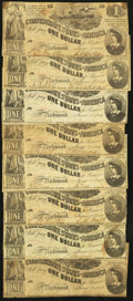 Confederate Notes:1862 Issues, T44 $1 1862. Eight Examples.. ... (Total: 8 notes)