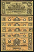 Confederate Notes:Group Lots, Six Modern Confederate Reproductions $20; $1 (5) 1864.. ... (Total:6 notes)