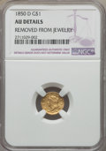 Gold Dollars, 1850-D G$1 -- Removed From Jewelry -- NGC Details. NGC Census: (7/80). PCGS Population: (15/45). CDN: $2,750 Whsle. Bid for...