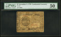 Colonial Notes:Continental Congress Issues, Continental Currency November 2, 1776 $7 PMG About Uncirculated50.. ...