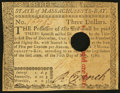 Colonial Notes:Massachusetts, Massachusetts May 5, 1780 $3 Hole Cancel Extremely Fine.. ...