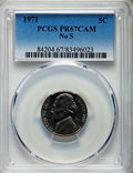 Proof Jefferson Nickels, 1971 5C No S PR67 Cameo PCGS. PCGS Population: (43/105). NGC Census: (12/42). ...