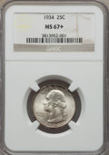Washington Quarters, 1934 25C MS67+ NGC. NGC Census: (51/0 and 2/0+). PCGS Population:(105/2 and 18/0+). CDN: $615 Whsle. Bid for problem-free ...
