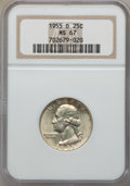 Washington Quarters, 1955-D 25C MS67 NGC. NGC Census: (32/0). PCGS Population: (3/0).Mintage 3,182,400. . From The Michael C. Hollen Colle...