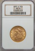 Liberty Eagles: , 1893-S $10 MS61 NGC. NGC Census: (263/171). PCGS Population: (114/283). Mintage 141,350. . From The Michael C. Hollen ...