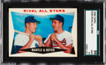 "Baseball Cards:Singles (1960-1969), 1960 Topps Mantle/Boyer - ""Rival All Stars"" #160 SGC 98 Gem 10 -Pop One, None Higher! ..."