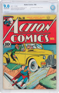Golden Age (1938-1955):Superhero, Action Comics #30 (DC, 1940) CBCS VF/NM 9.0 Off-white to white pages....