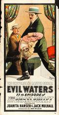"Movie Posters:Serial, The Brass Bullet (Universal, 1917). Three Sheet (39.5"" X 78"")Episode 11 -- ""Evil Waters."". ..."