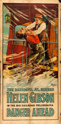 "Movie Posters:Serial, The Hazards of Helen (General, 1915). Three Sheet (38.75"" X 77.5"")Chapter 52 -- ""Danger Ahead."". ..."