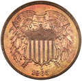 Proof Two Cent Pieces, 1865 2C PR67 Red and Brown NGC....