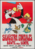 "Movie Posters:Animation, Looney Tunes Stock (Warner Brothers, R-1970s). Italian 2 - Fogli(39"" X 55""). Animation.. ..."