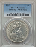 Seated Dollars: , 1847 $1 -- Cleaning -- PCGS Genuine. AU Details. NGC Census: (46/309). PCGS Population: (92/299). CDN: $800 Whsle. Bid for ...