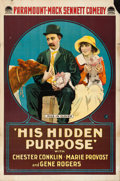 "Movie Posters:Action, His Hidden Purpose (Paramount, 1918). One Sheet (28"" X 42"").. ..."