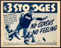 "Movie Posters:Comedy, The Three Stooges in No Census, No Feeling (Columbia, 1940). TitleLobby Card (11"" X 14"").. ..."