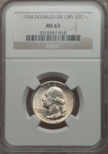 Washington Quarters, 1934 25C Doubled Die Obverse MS63 NGC. NGC Census: (13/30). PCGSPopulation: (17/56). CDN: $1,100 Whsle. Bid for problem-fr...