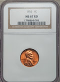 Lincoln Cents: , 1953 1C MS67 Red NGC. NGC Census: (24/0). PCGS Population: (18/0). Mintage 256,883,808.. From The Michael C. Hollen Co...