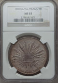 Mexico, Mexico: Republic 8 Reales 1855 Mo-GC MS63 NGC,...
