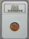 1931-S 1C MS66 Red NGC. NGC Census: (25/0). PCGS Population: (109/0). Mintage 866,000. From The Michael C. Hollen Co...(...