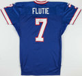 Football Collectibles:Uniforms, 1999 Doug Flutie Game Issued, Signed Buffalo Bills Jersey. ...