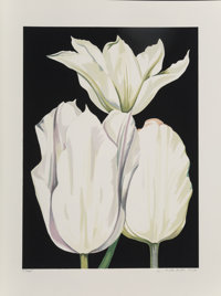 Lowell Nesbitt (1933-1993) Three Tulips on Black, 1980 Screenprint in colors on paper 28 x 20-3/8