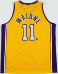 Basketball Collectibles:Others, Karl Malone Signed Los Angeles Lakers Jersey....