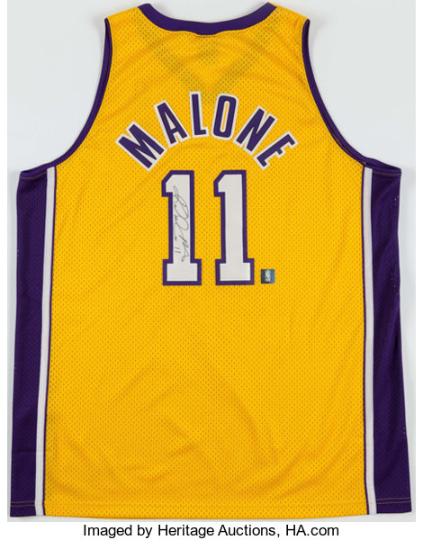 buy online 920b4 2a34f Karl Malone Signed Los Angeles Lakers Jersey.... Basketball ...