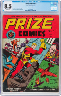 Prize Comics #5 (Prize, 1940) CGC VF+ 8.5 Off-white pages