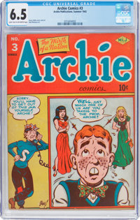 Archie Comics #3 (Archie, 1943) CGC FN+ 6.5 Light tan to off-white pages