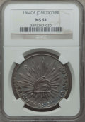 Mexico, Mexico: Republic 8 Reales 1864 Ca-JC MS63 NGC,...